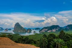 Beautiful islands bay viewpoint in Thailand royalty free stock image