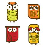Beautiful isolated owl collection Stock Photos