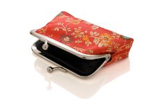 Beautiful isolated purse with reflection Royalty Free Stock Image