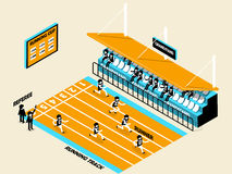 Beautiful isometric design of athletics, running track. Grandstand, runner and referee, athletics isometric design Royalty Free Stock Photography