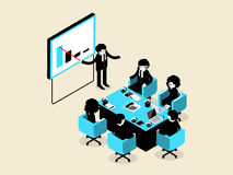 Beautiful isometric design of business people male and female in meeting and presentation situation Stock Image