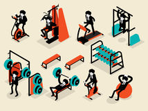 Beautiful isometric flat design of business man workout in gym Stock Photos