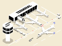 Beautiful isometric style of airport with air plans Royalty Free Stock Images