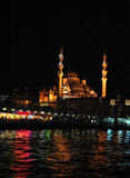 Beautiful Istanbul night photo. Colorful vivid night view of Istanbul Galata bridge and Suleiman mosque from Bosporus. Tourist , travel, what to visit in stock images