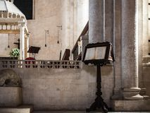 Beautiful Italian church of the Middle Ages. Indoor view royalty free stock images