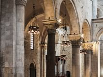 Beautiful Italian church of the Middle Ages. Indoor view stock images