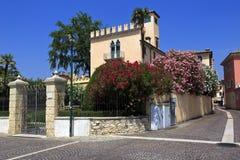 Beautiful italian garden and villa in Bardolino, lake Garda, Italy. Royalty Free Stock Photo