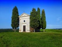 Beautiful Italian  landscape. Small chapel and cypress trees-Tuscany,Italy Royalty Free Stock Photos