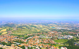 Beautiful Italian landscape. View from San Marino Stock Photo