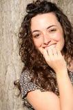 Beautiful italian smiling girl, long hair style stock photo