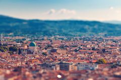 Florence roofs with tilt-shift effect, Italy. Beautiful italian town Florence with old roofs with tilt-shift effect royalty free stock photo