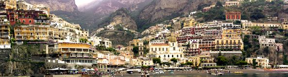 Beautiful Italy Landscape - Positano Village panoramic view royalty free stock images