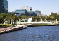 Beautiful Jacksonville, Florida Friendship Fountain and Riverwal Royalty Free Stock Image