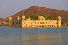 Beautiful Jal Mahal in the middle of Man Sagar Lake in Jaipur city, capital of Rajasthan, India royalty free stock photography