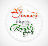 Beautiful 26 january calligraphy happy republic da. Y text tricolor design Royalty Free Stock Photos