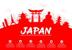 Beautiful Japan Travel Landmarks. Vector and Illustration Royalty Free Stock Photos