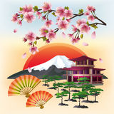 Beautiful Japanese background with sakura and fans Royalty Free Stock Images