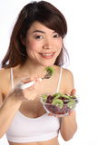 Beautiful Japanese Girl Eating Healthy Fruit Salad Royalty Free Stock Photo