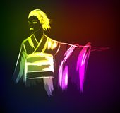 Beautiful japanese girl in kimono. Vector illustration in neon style. Light girl. Fashion & Style. Human. Japan and China. Vector illustration for a postcard Royalty Free Stock Images
