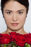 Beautiful Japanese Girl With Roses Royalty Free Stock Photo
