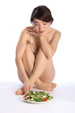 Beautiful japanese girl sitting with salad meal Royalty Free Stock Image