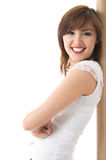 Beautiful Japanese girl smile. Isolated over white background Stock Photos