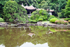 Beautiful japanese park with pagoda Royalty Free Stock Photography