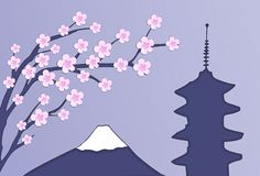 Beautiful japanese postcard with blooming sakura tree, fudji and pagoda royalty free illustration