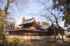 Beautiful japanese temple. Among modern architecture there are vestiges of ancient architecture. Japan Royalty Free Stock Photo