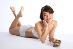 Beautiful japanese woman healthy body with fruit Stock Images