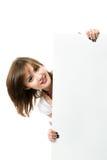 Beautiful japanese woman holding a billboard. Royalty Free Stock Photography