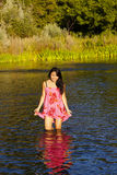 Beautiful Japanese Woman Standing In River Reflection Royalty Free Stock Image