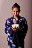 Beautiful japanese woman wearing kimono Stock Images
