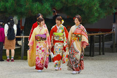 Beautiful Japanese women in a Kimono dress Royalty Free Stock Photos