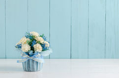 Beautiful Jasmine flower bouquet with blue ribbon bow Stock Image