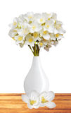 Beautiful jasmine flowers with leaves on wooden table isolated Stock Photo