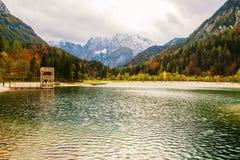 Beautiful Jasna lake on autumn color at Kranjska Gora. In Slovenia,Europe Royalty Free Stock Image