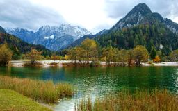 Beautiful Jasna lake on autumn color at Kranjska Gora. In Slovenia,Europe Royalty Free Stock Images