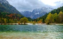 Beautiful Jasna lake on autumn color at Kranjska Gora. In Slovenia,Europe Stock Image