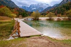 Beautiful Jasna lake on autumn color at Kranjska Gora. In Slovenia,Europe Stock Photo
