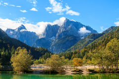 Beautiful Jasna lake at Kranjska Gora Stock Photos