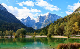 Beautiful Jasna lake at Kranjska Gora. In Slovenia royalty free stock photo