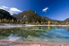 Beautiful Jasna lake at Kranjska Gora in Slovenia royalty free stock photography