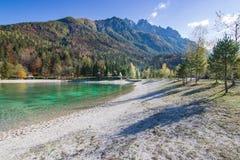 Beautiful Jasna lake at Kranjska Gora in Slovenia stock images