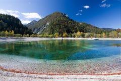 Beautiful Jasna lake at Kranjska Gora in Slovenia stock photography