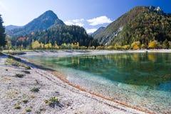 Beautiful Jasna lake at Kranjska Gora in Slovenia royalty free stock images