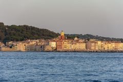Saint Tropez France. The beautiful jetset village Saint Tropez in France at sunset stock photography