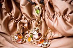 Beautiful jewelry on background Royalty Free Stock Photos