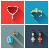 Beautiful jewelry and precious stones in flat Royalty Free Stock Image