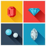 Beautiful jewelry precious stones in flat design Stock Photos